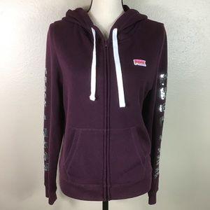 EUC-Victoria's Secret Pink Bling Purple Hoodie